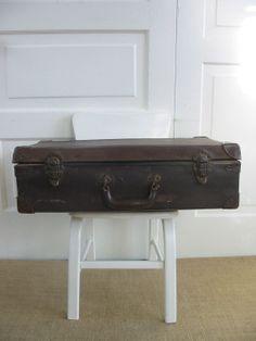 Vintage Suitcase Brown Industrial Primitive Case by vintagejane, $39.00