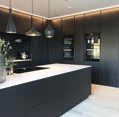 The kitchen that is top-notch white kitchen , modern kitchen , kitchen design ideas! Scandinavian Kitchen, Black Kitchens, Contemporary Kitchen, Kitchen Room Design, House Interior, Kitchen Layout, Modern Kitchen Design, Home Interior Design, Luxury Kitchen Design