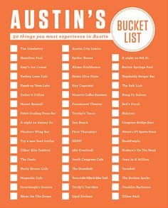 Bucket List for Visits to Austin