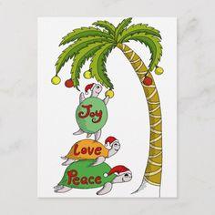 Shop Hawaiian Christmas Turtle Santas Holiday Card created by nuneart. Tropical Christmas, Beach Christmas, Christmas Cards To Make, Christmas Time, Holiday Cards, Christmas Crafts, Christmas Decorations, Christmas Ideas, Christmas Stuff