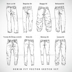 Denim Fit Hand Drawn Vector Sketch Set - Retail Commercial / Shopping