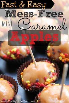 Fast & Easy Mess Free Mini Caramel Apples #sponsored