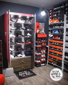 Shoe Rack Bedroom, Shoe Room, Bedroom Setup, Boys Bedroom Decor, Shoe Closet, Shoe Box Storage, Locker Storage, Storage Ideas, Sneaker Storage