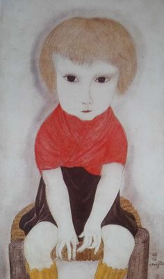 1918 env. Petite fille au corsage rouge Huile 41 x 24 cm Collection particulière