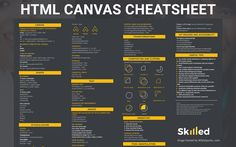 HTML Canvas cheat sheet which is perfect for beginners through to people with advanced knowledge of coding. Html Cheat Sheet, Javascript Cheat Sheet, Cheat Sheets, Learn Computer Science, Computer Coding, Computer Basics, Learn Html, Learn To Code, Html Design Templates