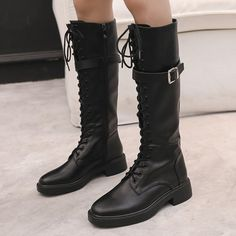 Plain Flat Round Toe Date Outdoor Knee High Flat Boots Flat Boots, High Heel Boots, Heeled Boots, Ankle Boots, High Heels, Over The Knee Boot Outfit, Cheap Boots, Fashion Boots, Combat Boots