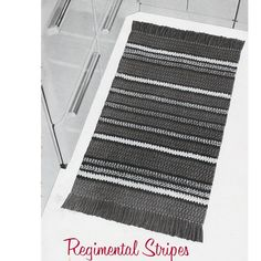This crochet pattern will assist you in crocheting a easy rug in 5 colors of stripes that measure 24 x 40 inches.   A great area rug for many an area in your home.
