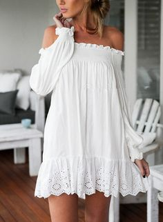 Off The Shoulder Peplum Hem Hollow Dress.