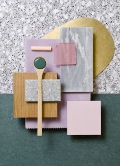 Weekly material mood 〰 Forest Green, soft pruple and brass #brass #terrazzo #darkgreen #oak #velvet #purple #acrylic #pink #greymarble #pastels #grey #colour #design #material #mood #moodboard #studiodavidthulstrup