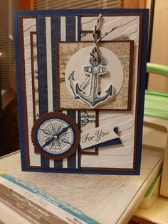Masculine Birthday Cards, Masculine Cards, Stampinup, Fathers Day Cards, Paper Crafts, Scrapbook, Sailing, Frame, Handmade
