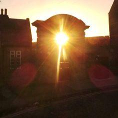 Photo serotonin moment: sunburst through a segmental door in Hexham Light Take, Mobile Photography, In This Moment, Celestial, Sunset, Outdoor, Inspiration, Outdoors, Biblical Inspiration