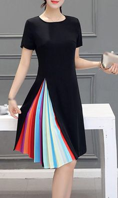 Little Black A Line Dress With Rainbow Pleated Side Detail Sewing Box, Flare Dress, Short Sleeve Dresses, High Neck Dress, Fashion Beauty, Clothes, Style, Sewing Patterns, Outfit