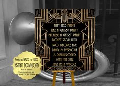 Roaring twenties party decoration. F. Scott Fitzgerald quote print. Great Gatsby party decor. Art deco poster. Gatsby wedding decor. by inkmebeautiful on Etsy https://www.etsy.com/listing/455959454/roaring-twenties-party-decoration-f