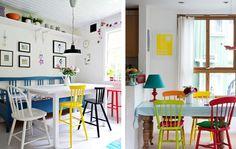 Use o branco como base e aposte em cadeiras e objetos coloridos. Uma boa ideia é usar cada cadeira de uma cor, misturando modelos diferentes, estilos, sem esquecer de caprichar na escolha da louça e também do lustre.