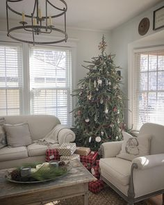 Cozy Christmas, Christmas Time, Christmas Ideas, Christmas Decorations, Kimball House, Upholstered Arm Chair, All Holidays, Holiday Decorating, Christmas Inspiration