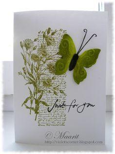 Stempelcollage - schöne Idee (Script-HG, Blumenmotiv + Schmetterling)