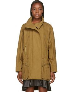BALMAIN KHAKI QUILTED DOLMAN SLEEVE SAFARI TRENCH COAT