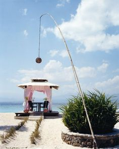 Table for two on Gili Trawangan, the largest and most popular of the Gili Islands.