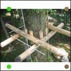 DIY Tree House Ideas & How To Build A Treehouse (For Your Inspiration) - Cambium Plattform Bausatz - Beautiful Tree Houses, Cool Tree Houses, Backyard Projects, Home Projects, Building A Treehouse, Treehouse Ideas, House Building, Tree House Plans, Diy Tree House