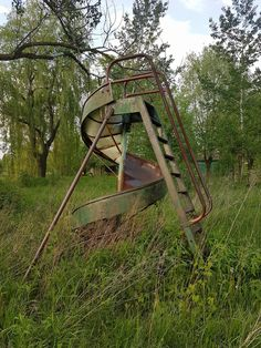 Metal spiral slide surrounded by overgrowth in an abandoned camp ground (OC) 1536 2048 Abandoned Buildings, Abandoned Places, Playground Slide, Done With Life, Aesthetic Green, 2d Design, Aquascaping, Siena, Beautiful Landscapes