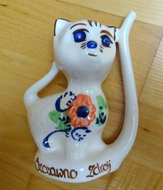 Item: Quirky, Vintage Polish Milk Jug / Creamer in the shape of a cheeky cat, kitten. Inscription on front reads Szczawno Zdroj, which is a small Polish Pottery, Milk Jug, Antique Items, Cats And Kittens, Shapes, Antiques, Tableware, Creative, Handmade