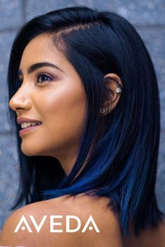 Vibrant, fade resistant color that improves your hair. Aveda full-spectrum hair color is customized just for you for personalized results every time. Blue Ombre Hair, Hair Dye Colors, Hair Color For Black Hair, Cool Hair Color, Blue Denim Hair, Dye For Dark Hair, Dark Hair Style, Blue Tinted Hair, Raven Hair Color