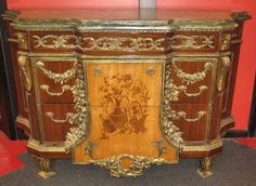 French Louis XV Ormolu Buffet Chest with Marble Top