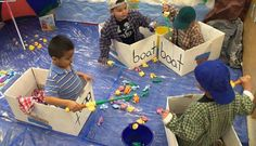 Make fishing boats out of cardboard boxes, lay down a blue tarp to make it look like water, use a sand bucket to put the fish in and use those play fishing poles with fish that you get in any toy section at any large super store Ocean Activities, Learning Activities, Preschool Activities, Dramatic Play Area, Dramatic Play Centers, Camping Dramatic Play, Preschool Dramatic Play, Preschool Classroom, Preschool Crafts