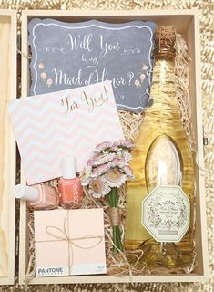 DIY gift box for asking your bridesmaids to be part of your wedding. Bridesmaid proposal. - Melissa Jill Photography
