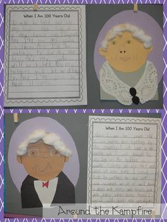 When I Am 100 Years Old~Writing ideas for the 100th day plus a FREE Things We've Been Told 100 Times class book printable from Around the Kampfire blog.