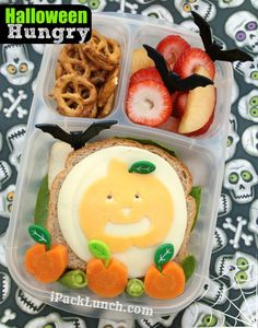 Halloween themed healthy bento lunch with jack-o-lantern as part of Bento Bloggers and friends blog hop in @EasyLunchboxes