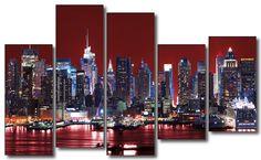 #Cuadro #NewYork, Skyline de #Manhattan fondo rojo, lienzo 5 piezas, 150x100cm
