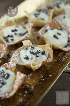 Mini Cannoli Cups // The perfect bite-sized treat for your holiday entertaining! They are adorable, delicious, and can be whipped together in a jiffy! | Tried and Tasty