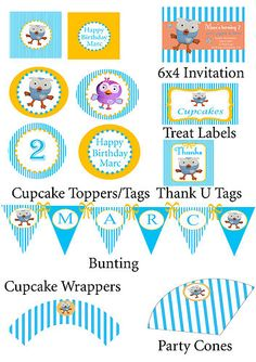 Giggle and Hoot Party Pack Personalised Printable Boy First Birthday, 4th Birthday Parties, Birthday Ideas, Party Packs, Kai, First Birthdays, Party Supplies, Cupcakes, Party Ideas