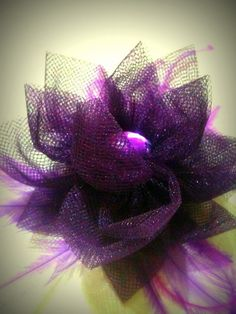 Purple Hair Flower Clip Feather Fascinator by SparklyLittleStar