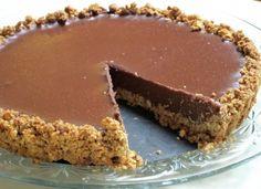 Milk chocolate ganache tart with pretzel crust. For you milk chocolate fan types.