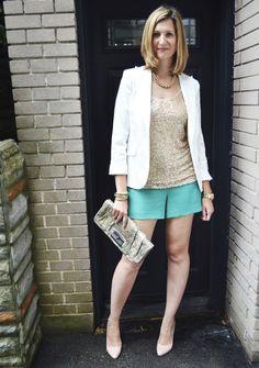Dressy Shorts, Sequin Tank, White Blazer