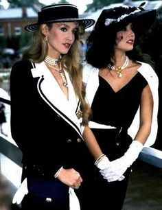 Jerry Hall, Marie Helvin in vintage monochrome