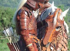 Hungarian Horseback Archer, Hungary (Central Europe) -Hungary has long tradition of nomad archery which is originated from the ancient nomad history of the Huns. Horse Armor, Horse Gear, Horse Tack, Larp, Mounted Archery, Costume Armour, Horse Costumes, Leather Armor, Leather Tooling