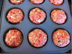 TURKEY MEATLOAF MUFFINS 1.25 pounds lean ground turkey 1 bell pepper, seeded and diced 1 jalapeno, seeded and minced 1 onion, diced 2 garlic cloves, minced 1 cup mushrooms, diced 1 zucchini, sliced and diced 1 egg white 1/4 cup oat bran 1 Tbsp Worcestershire sauce 1/2 tsp Italian seasoning 1/2 tsp thyme or sage sea salt & black pepper 1 tsp crushed red pepper flakes, optional