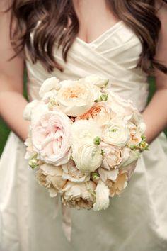 12 white ranunculus, 4 light peach Cabbage roses, 3 light pink garden roses, 8 cream garden roses