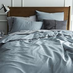 Linen Cotton Blend Duvet Cover + Shams - Dusty Blue #westelm