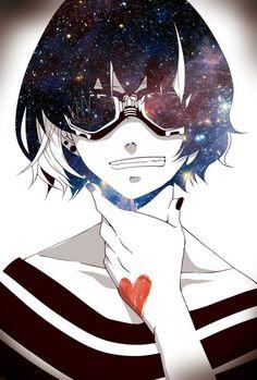 Anime. Anime Guy. Anime Boy. Heart. Galaxy. Smirking. Smiling. White Hair. Goggles.