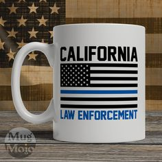 California Police Officer Mug - Thin Blue Line American Flag - USA California Law Enforcement - Custom Ceramic Coffee Mug by MugMojo on Etsy