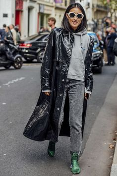 Winter fashion. Fall fashion. Trench coat. Leather coat. Black denim. Booties. Velvet. Color pop. Women's fashion. Style. Street style. Style blogger. Hoodie