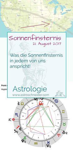 Astrologie-Die aktuelle Sonnenfinsternis bringt uns die starke Gelegenheit mehr über uns selbst zu erfahren! Die Interpretation und mehr interessantes findet Ihr auf meinem Blog www.astroschneider.com/tarot-astrologie Tarot, Map, Blog, Astrology, Solar Eclipse, Zodiac Constellations, Horoscope, Deutsch, Maps