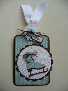 Bug 'n Me Creations: Cricut Cardz Challenge # You're It winter woodland ice skate Christmas Paper Crafts, Christmas Gift Tags, Xmas Cards, Christmas Packages, Cricut Tags, Handmade Tags, Paper Tags, Winter Cards, Card Tags