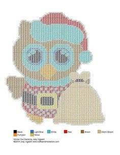 Winter Owl Set - Plastic Canvas 2/7 Santa Plastic Canvas Christmas, Plastic Canvas Crafts, Plastic Canvas Patterns, Cross Stitching, Cross Stitch Embroidery, Cross Stitch Patterns, Canvas 5, Canvas Ideas, Christmas Wall Hangings