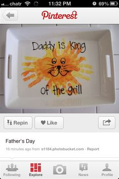#FathersDay Gift Idea - Hand Print Lion Tray for Grilling - Maye Pediatric Dentistry | #BocaRaton | #FL | www.jungledental.com