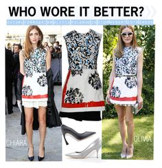 """""""Who Wore It Better?Chiara Ferragni or Olivia Palermo in Dior resort 2015 Dress"""" by kusja ❤ liked on Polyvore featuring WhoWoreItBetter, Dior, chiaraferragni, OliviaPalermo and wwib"""